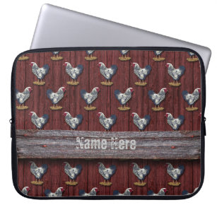 Silver Laced Wyandotte Roosters Barn Boards Computer Sleeve