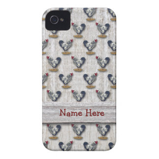 Silver Laced Wyandotte Roosters Barn boards iPhone 4 Case-Mate Case