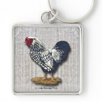 Silver Laced Wyandotte Roosters Barn boards Keychain