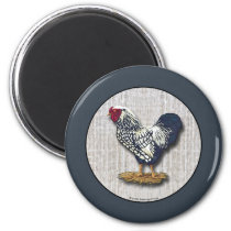 Silver Laced Wyandotte Roosters Barn boards Magnet