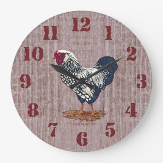 Silver Laced Wyandotte Roosters Barnboards Round Wallclock