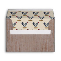 Silver Laced Wyandotte Roosters Red Barn Boards Envelope