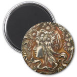 Silver Lady Art Nouveau Vintage Costume Jewelry 2 Inch Round Magnet