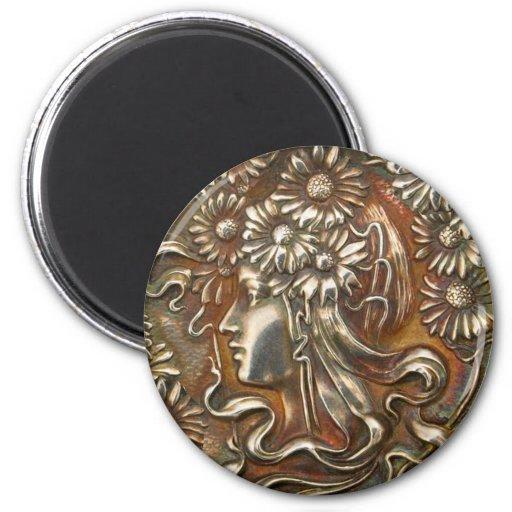 Silver Lady Art Nouveau Vintage Costume Jewelry Magnets