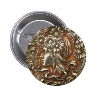 Silver Lady Art Nouveau Vintage Costume Jewelry Pinback Button