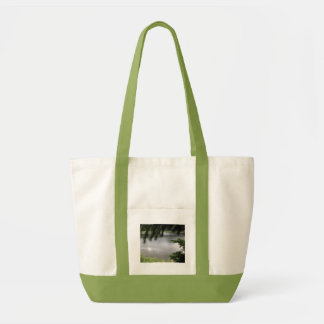 Silver Lake Framed by Evergreen Boughs Tote Bags