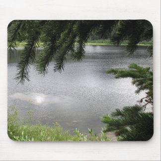 Silver Lake Framed by Evergreen Boughs Mouse Pad