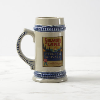 Silver Lake Whiskey Vintage Alcohol Art Label Beer Stein