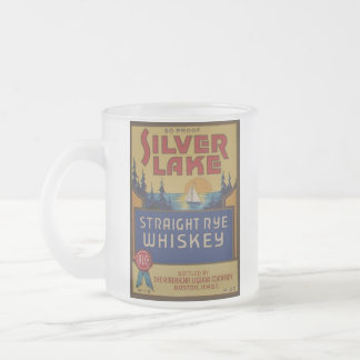 Silver Lake Whiskey Vintage Alcohol Art Label 10 Oz Frosted Glass Coffee Mug