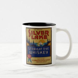 Silver Lake Whiskey Vintage Alcohol Art Label Two-Tone Coffee Mug