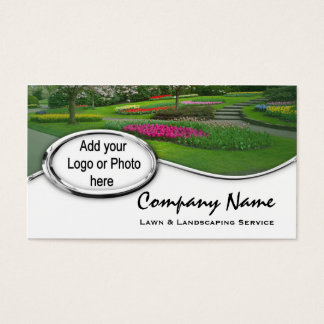 Silver Landscaping Lawn Logo Photo Business Cards