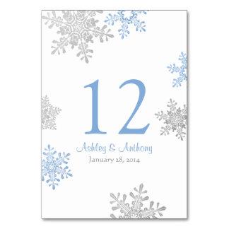 Silver Lapis Blue White Snowflakes Winter Wedding Card