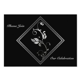 Silver Lattice Wedding Invitation.