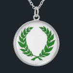 """Silver Laurel Medallion Sterling Silver Necklace<br><div class=""""desc"""">Laurel</div>"""