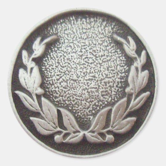 Silver Laurel Wreath Classic Round Sticker