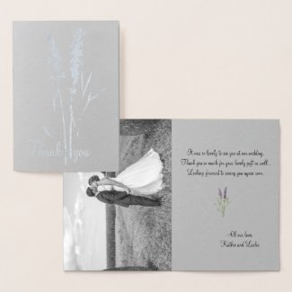 silver lavender -add wedding photo foil card