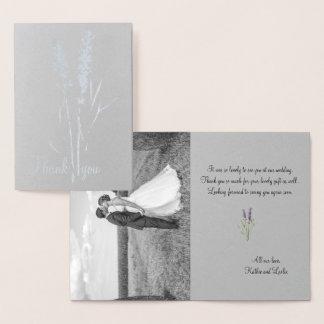 silver lavender -add wedding photo foil card