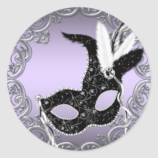 Silver Lavender and Black Mask Masquerade Party Classic Round Sticker