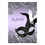 Silver Lavender and Black Masquerade Party RSVP Custom Invite