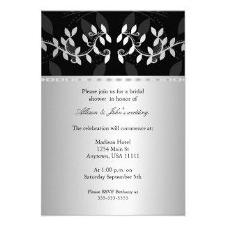 Silver Leaf Border Bridal Shower Invitation