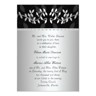 Silver Leaf Border Wedding Invitation