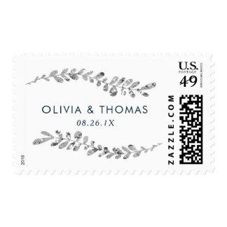 Silver Leaf Wedding Stamp, Faux Silver Postage