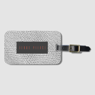 Silver Leather Look Textured Bag Tag