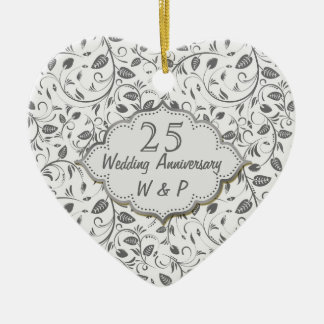 Silver leaves 25th Wedding Anniversary Double-Sided Heart Ceramic Christmas Ornament
