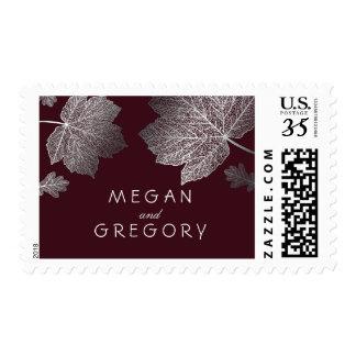 Silver Leaves Burgundy Fall Wedding Postage