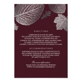 Silver Leaves Burgundy Wedding Details-Information Card