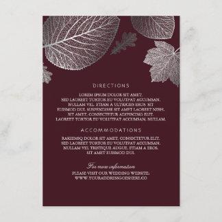 Silver Leaves Burgundy Wedding Details-Information Enclosure Card