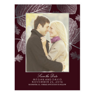 Silver Leaves Fall Burgundy Photo Save the Date Postcard