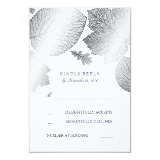 Silver Leaves Fall Wedding RSVP Cards