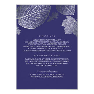 Silver Leaves Navy Wedding Details - Information Card