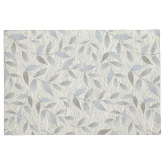 Silver Leaves over Stucco Print Doormat