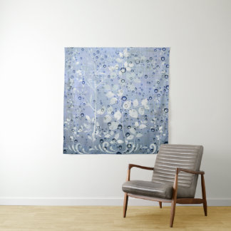 Silver  leaves with rain drops  Wall DecorTapestry Tapestry