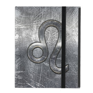 Silver Leo Zodiac Sign in Grunge Distressed Style iPad Folio Case