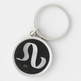 Silver Leo Zodiac Symbol Keychain