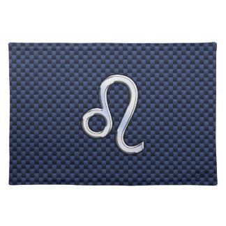 Silver Leo Zodiac Symbol Navy Carbon Fiber Print Cloth Placemat