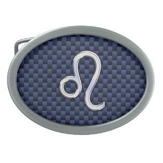 Silver Leo Zodiac Symbol Navy Carbon Fiber Print Oval Belt Buckle
