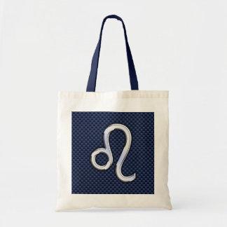 Silver Leo Zodiac Symbol Navy Carbon Fiber Print Tote Bag