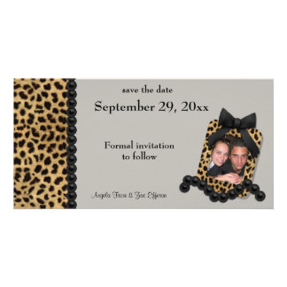Silver Leopard And Black Pearls Save The Date Card