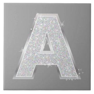 Silver Letter A Tile