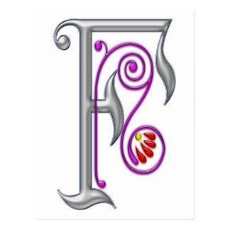 Silver Letter F Ornamental II Print Post Card