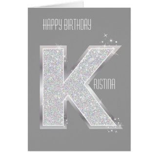 Silver Letter K Greeting Card
