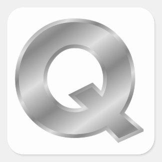 Silver Letter Q Sticker