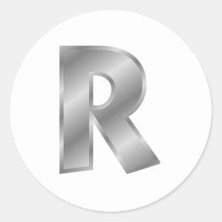 Silver Letter R Round Sticker