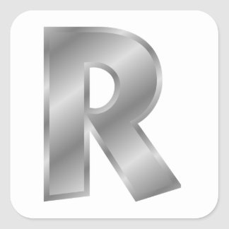 Silver Letter R Stickers