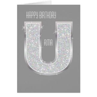 Silver Letter U Card