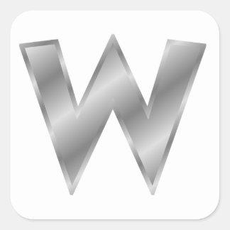 Silver Letter W Square Stickers
